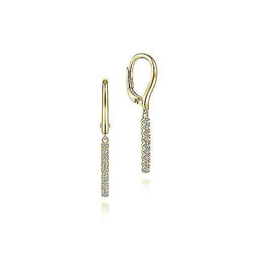 14K Yellow Gold Diamond Bar Drop Leverback Earrings