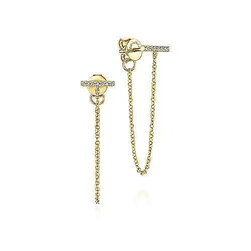 14K Yellow Gold Diamond Bar Stud and Chain Linear Earrings