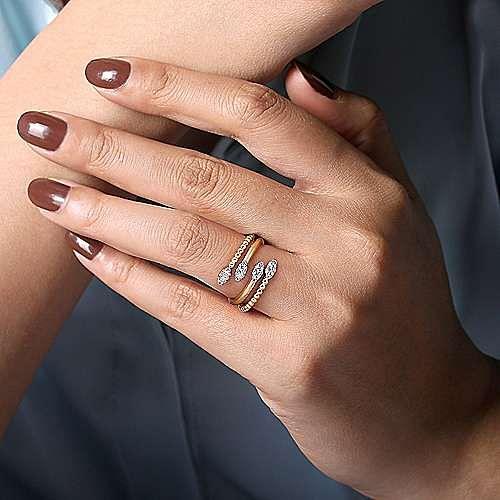 14K Yellow Gold Diamond Bujukan Bypass Ring