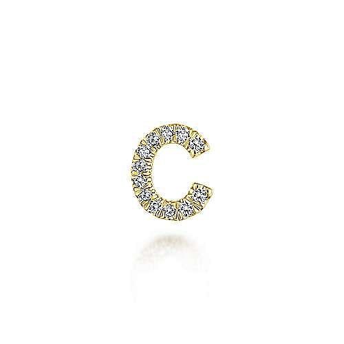 14K Yellow Gold Diamond C Pendant