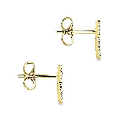 14K Yellow Gold Diamond Chevron Earrings