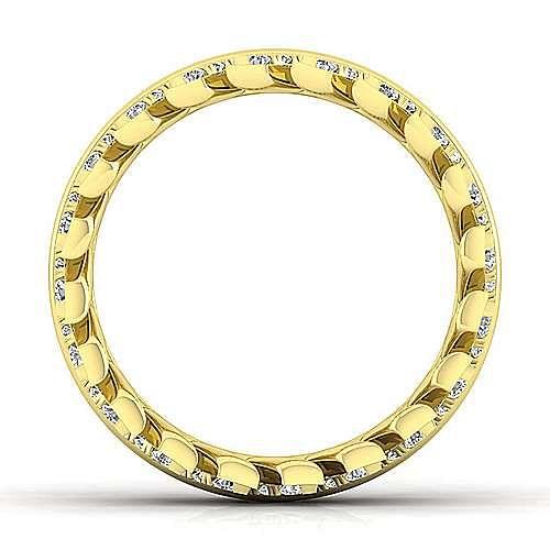 14K Yellow Gold Diamond Chevron Eternity Ring