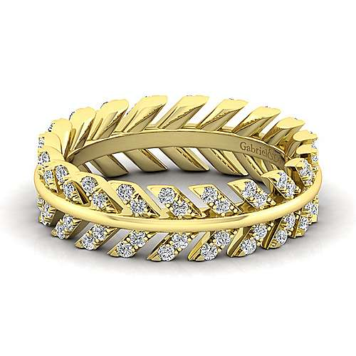 14K Yellow Gold Diamond Chevron Eternity Ring