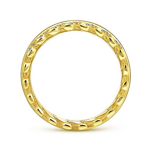 14K Yellow Gold Diamond Chevron Ring