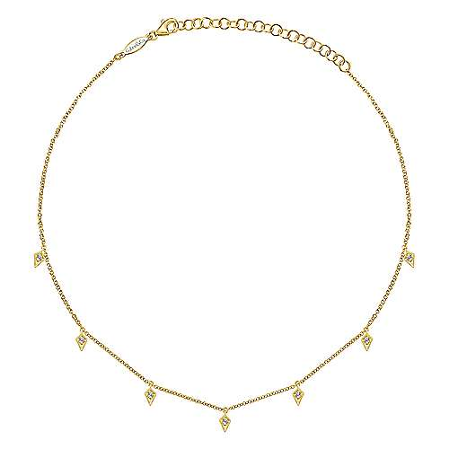 14K Yellow Gold Diamond Choker Necklace, 11.5-14.5inch