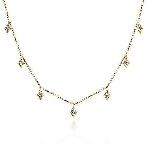 Gabriel - 14K Yellow Gold Diamond Choker Necklace, 11.5-14.5inch