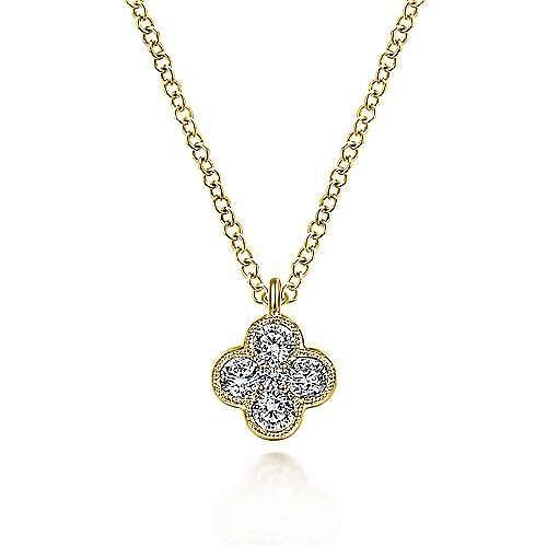 14K Yellow Gold Diamond Clover Pendant Necklace