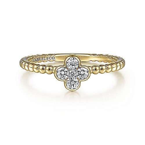 14K Yellow Gold Diamond Cluster Clover and Bujukan Bead Ring