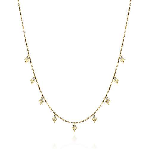 14K Yellow Gold Diamond Cluster Drop Station Necklace