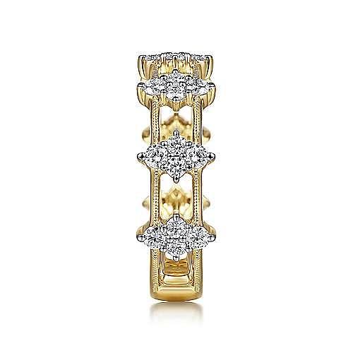 14K Yellow Gold Diamond Cluster Station Ring