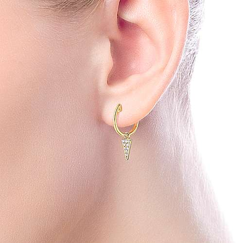 14K Yellow Gold Diamond Cluster Triangle Huggie Drop Earrings