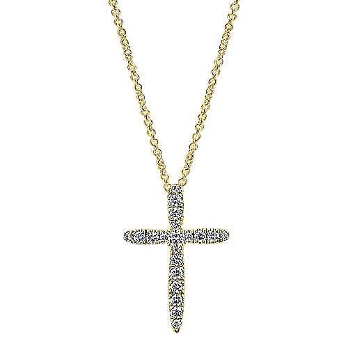 14K Yellow Gold Diamond Cross Pendant Necklace