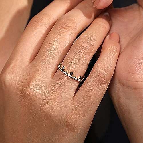 14K Yellow Gold Diamond Crown Ring