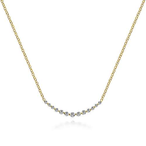 14K Yellow Gold Diamond Curved Bar Necklace