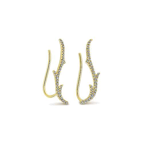 14K Yellow Gold Diamond Earring Cuffs
