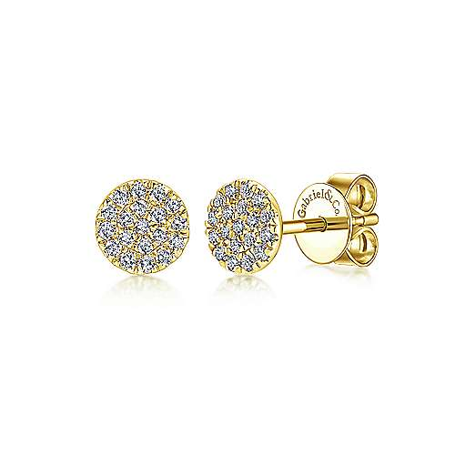 14K Yellow Gold Diamond Earring