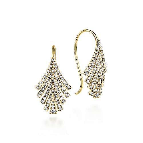 14K Yellow Gold Diamond Fan Earrings