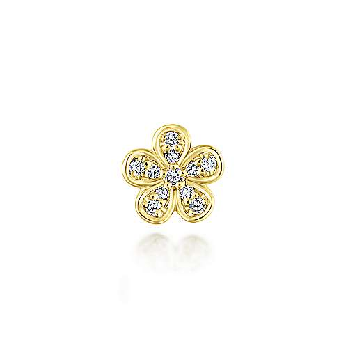 14K Yellow Gold Diamond Flower Pendant
