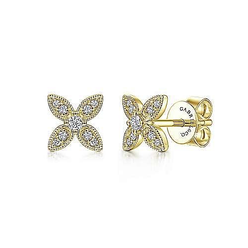 14K Yellow Gold Diamond Flower Stud Earrings