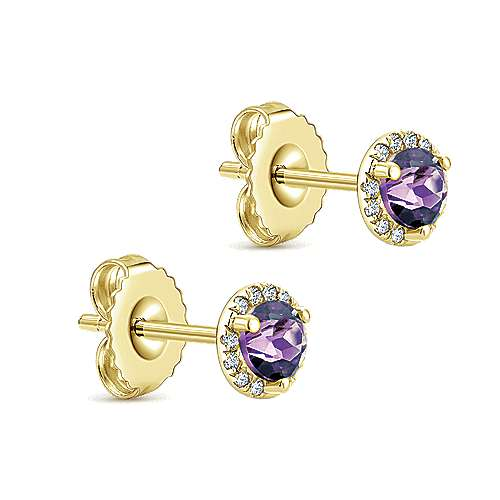 14K Yellow Gold Diamond Halo Amethyst Stud Earrings