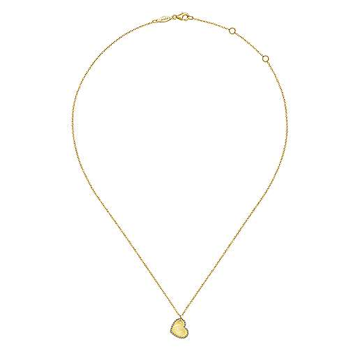 14K Yellow Gold Diamond Halo Engravable Heart Pendant Necklace