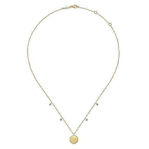 14K Yellow Gold Diamond Halo Round Engravable Pendant Necklace