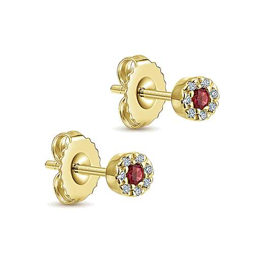 14K Yellow Gold Diamond Halo Ruby Stud Earrings
