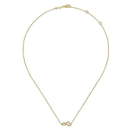 14K Yellow Gold Diamond Infinity Heart Pendant Necklace
