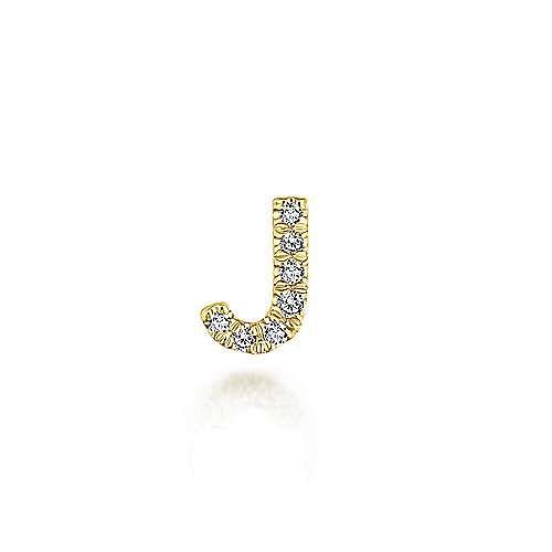 14K Yellow Gold Diamond J Pendant