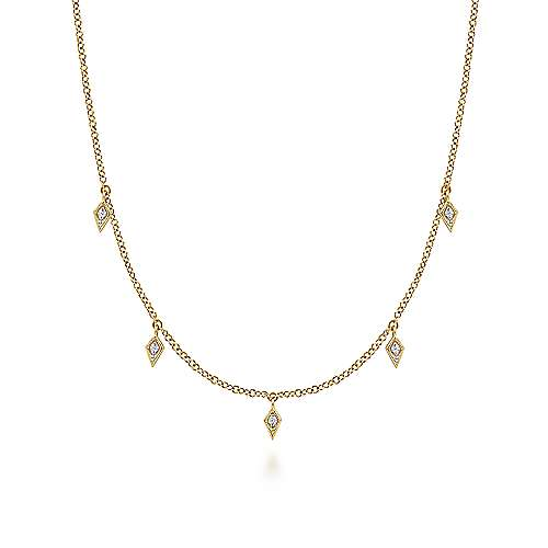 14K Yellow Gold Diamond Kite Drop Station Necklace
