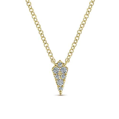14K Yellow Gold Diamond Kite Pendant Necklace