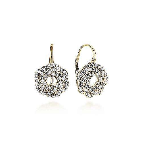 14K Yellow Gold Diamond Knot Drop Earrings