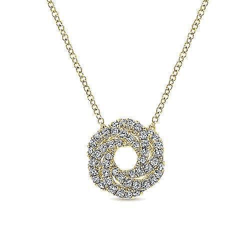 14K Yellow Gold Diamond Knot Pendant Necklace