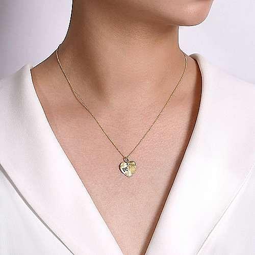 14K Yellow Gold Diamond Leaf Pendant Necklace