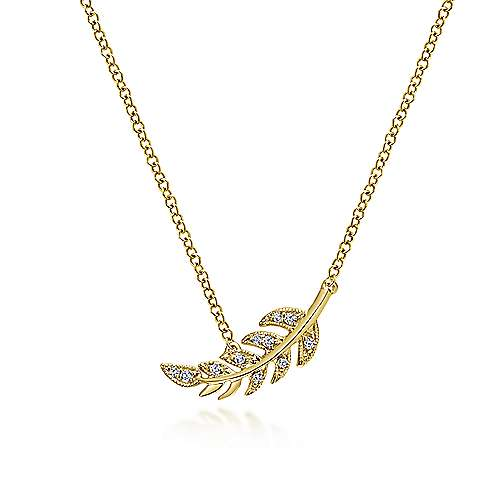 14K Yellow Gold Diamond Leaf Pendant Necklace