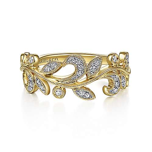 14K Yellow Gold Diamond Leaf Ring