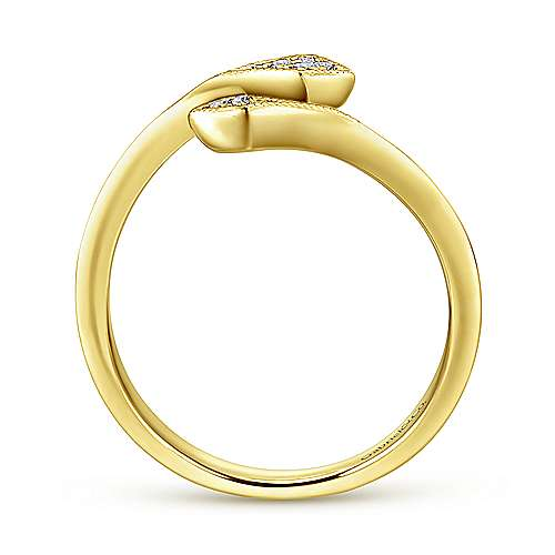 14K Yellow Gold Diamond Midi Open Wrap Ring