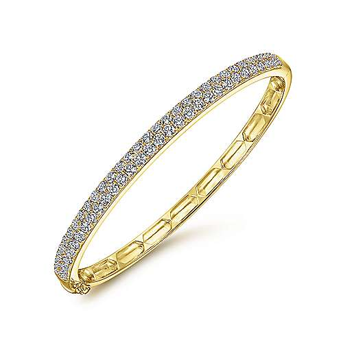 14K Yellow Gold Diamond Pavé Bangle
