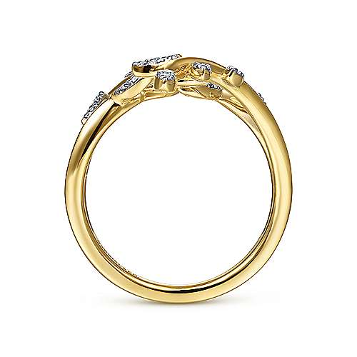 14K Yellow Gold Diamond Pavé Branch Wrap Ring