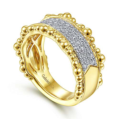 14K Yellow Gold Diamond Pavé Center Ring with Bujukan Bead Border