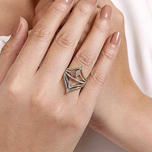 14K Yellow Gold Diamond Pavé Chevron Statement Ring