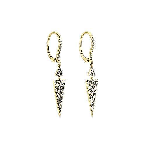 14K Yellow Gold Diamond Pavé Double Triangle Drop Earrings