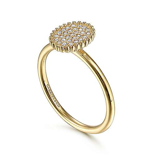 14K Yellow Gold Diamond Pavé Oval Ring