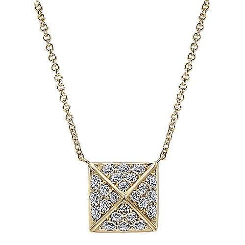 14K Yellow Gold Diamond Pavé Pyramid Pendant Necklace