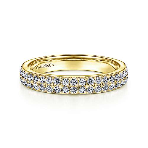 14K Yellow Gold Diamond Pavé Ring Band