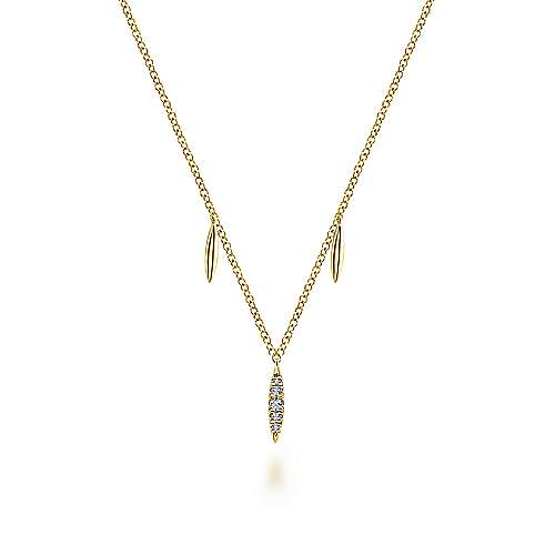 14K Yellow Gold Diamond Pavé Spear Drop Necklace