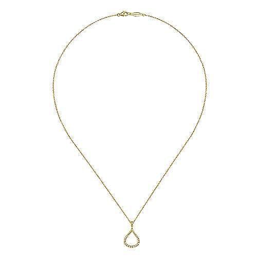 14K Yellow Gold Diamond Pavé Teardrop Pendant Necklace