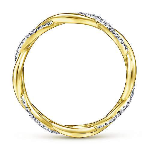 14K Yellow Gold Diamond Pavé Twisting Eternity Ring
