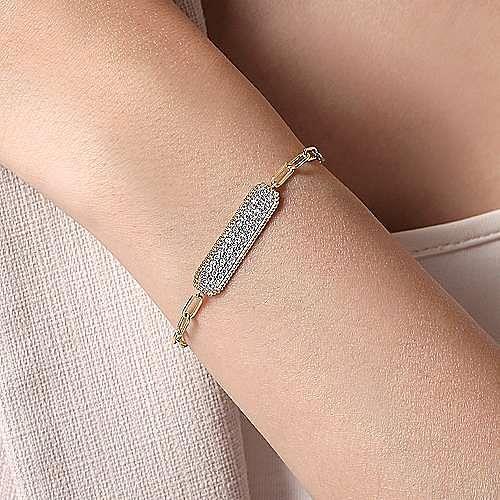 14K Yellow Gold Diamond Pave' Wide Bar Bracelet