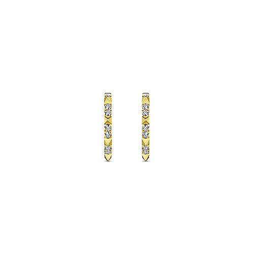 14K Yellow Gold Diamond Pyramid Spike 15mm Huggies